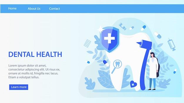 Page d'atterrissage. femme dentiste travaille illustration vectorielle santé dentaire. Vecteur Premium