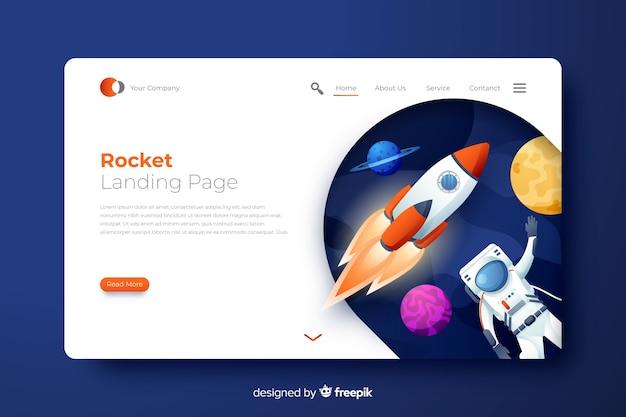 Page d'atterrissage de fusée avec l'astronaute Vecteur gratuit