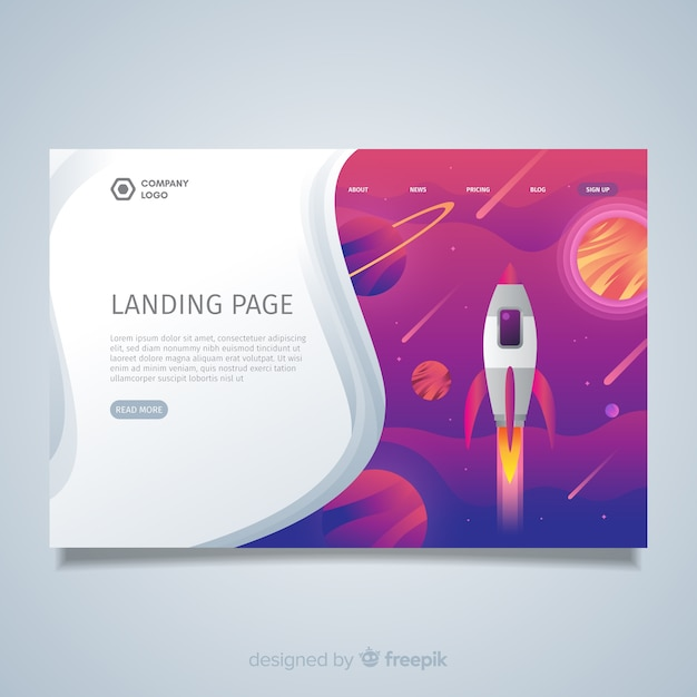 Page d'atterrissage avec fusée spatiale Vecteur gratuit