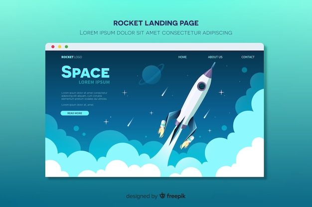 Page d'atterrissage avec fusée volant dans l'espace Vecteur gratuit