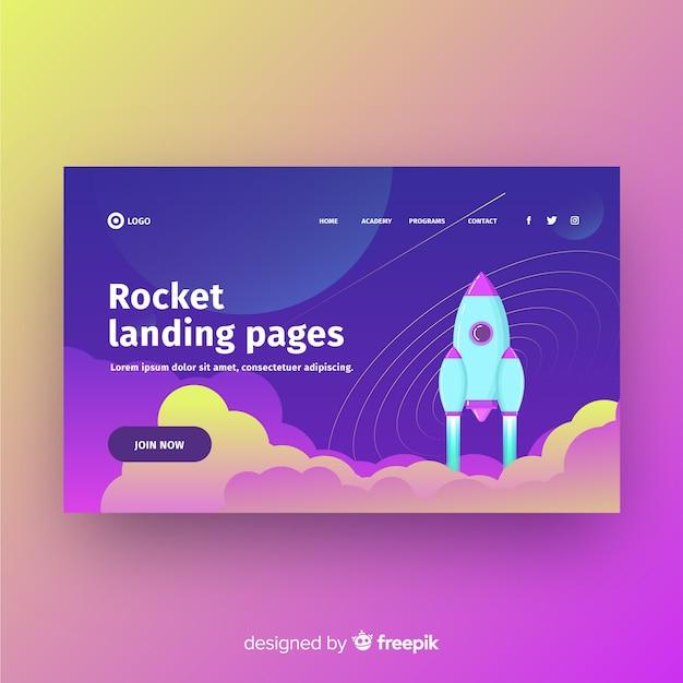 Page d'atterrissage de fusée Vecteur gratuit