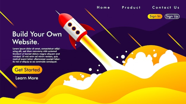 Page D'atterrissage Avec Une Fusée Vecteur Premium