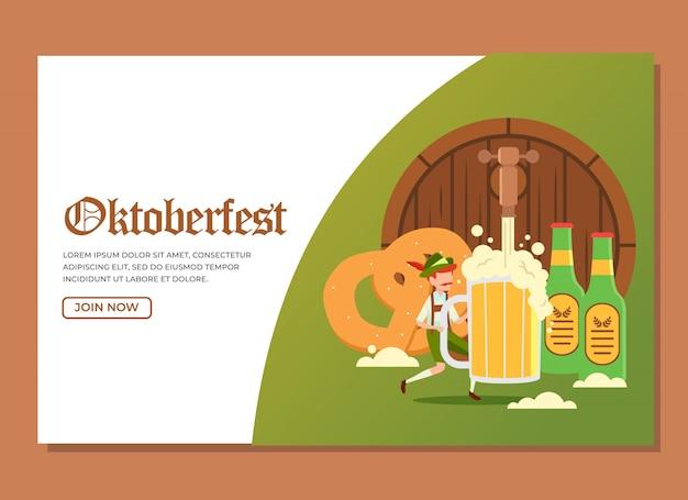 Page d'atterrissage d'un homme tenant un grand verre de bière avec d'autres objets pour célébrer l'événement oktoberfest Vecteur Premium