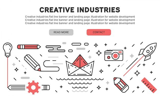 Page d'atterrissage des industries créatives Vecteur Premium