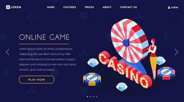 Page d'atterrissage isométrique du jeu de casino en ligne Vecteur Premium