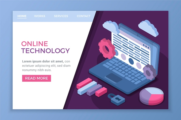 Page d'atterrissage isométrique de la technologie en ligne Vecteur gratuit