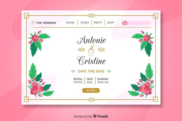 Page d'atterrissage de mariage coloré Vecteur gratuit
