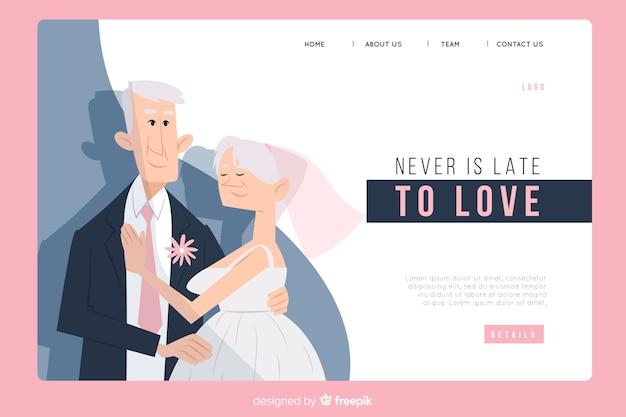 Page d'atterrissage de mariage avec couple Vecteur gratuit