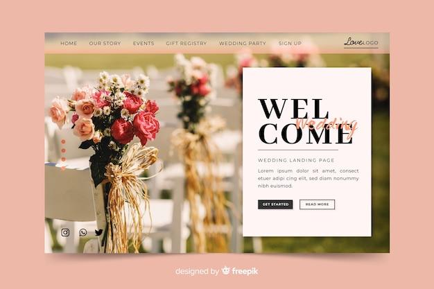Page d'atterrissage de mariage avec photo Vecteur gratuit