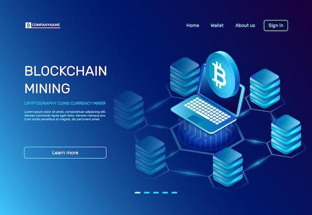 Page D'atterrissage Minier Blockchain Vecteur Premium