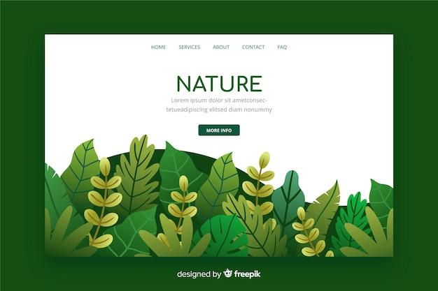 Page d'atterrissage nature avec feuilles Vecteur gratuit