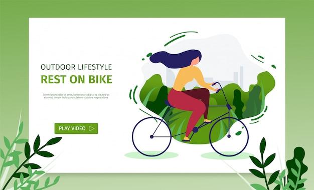 Page d'atterrissage outdoor lifestyle présente le repos sur le vélo Vecteur Premium