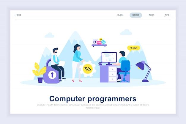 Page d'atterrissage plat moderne de programmeurs d'ordinateur Vecteur Premium
