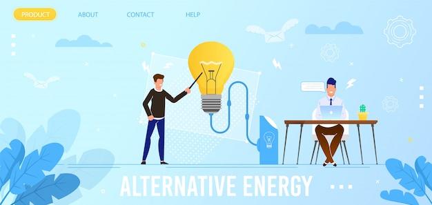 Page d'atterrissage à plat pour éco-énergies alternatives Vecteur Premium