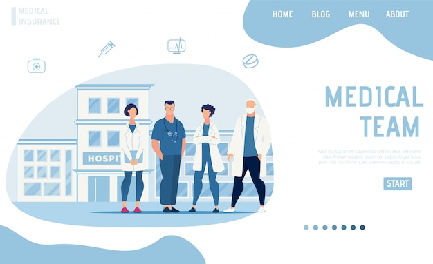 Page d'atterrissage à plat présentant l'équipe médicale moderne Vecteur Premium