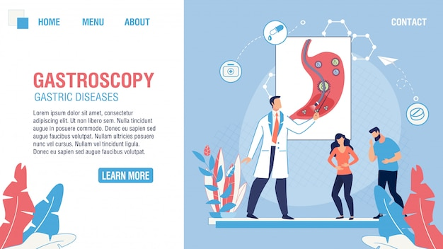 Page D'atterrissage Plate Du Service Médical De Gastroscopie Vecteur Premium