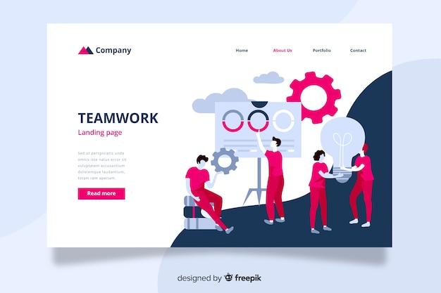 Page d'atterrissage pour le travail d'équipe avec des collègues s'entraidants Vecteur gratuit