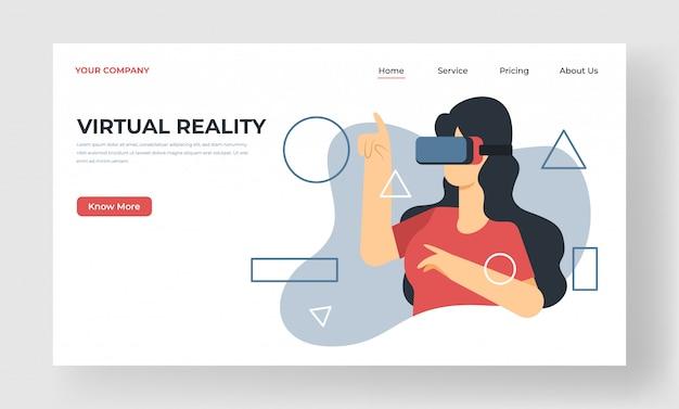 Page d'atterrissage en réalité virtuelle Vecteur Premium