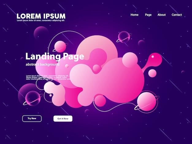 Page d'atterrissage de site web avec fond abstrait nuage Vecteur Premium