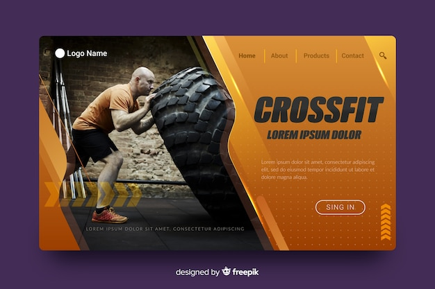 Page d'atterrissage sport crossfit Vecteur gratuit