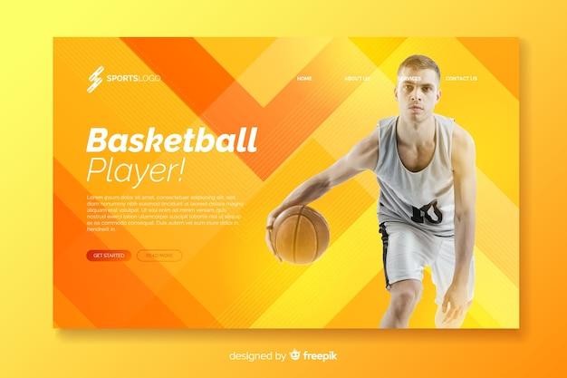 Page d'atterrissage sport orange avec photo Vecteur gratuit