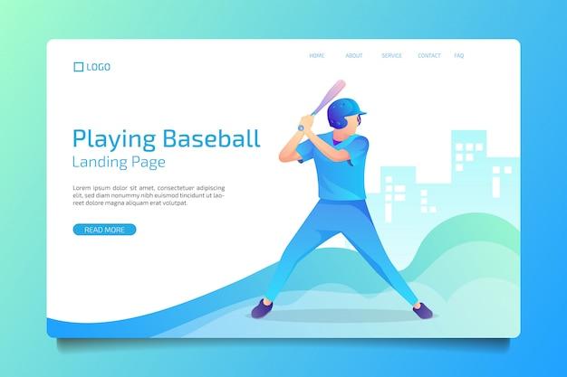 Page d'atterrissage sport style baseball plat Vecteur Premium