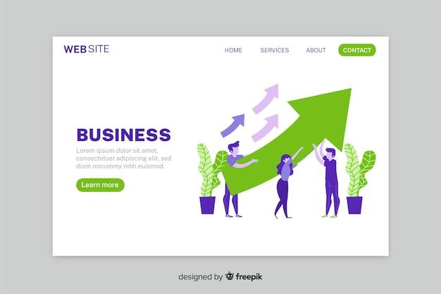 Page d'atterrissage de stratégie d'entreprise de croissance avec des flèches Vecteur gratuit