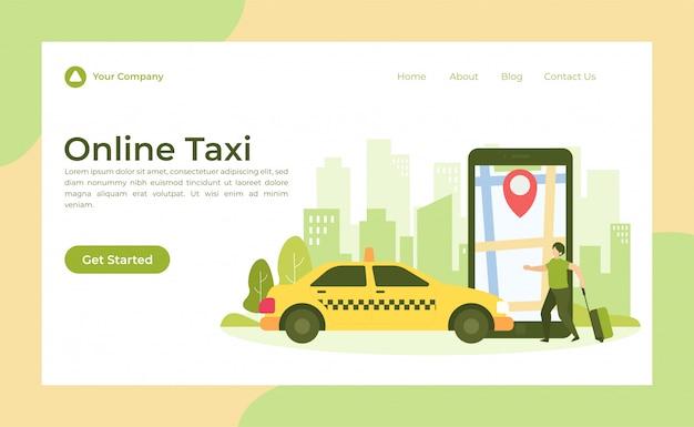 Page d'atterrissage de taxi en ligne Vecteur Premium