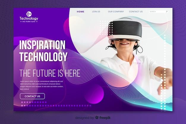 Page d'atterrissage de technologie avec photo Vecteur gratuit