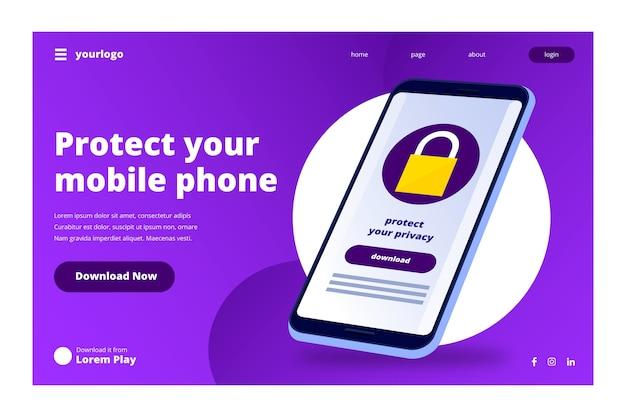 Page d'atterrissage de technologie avec smartphone Vecteur gratuit
