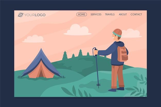 Page d'atterrissage de voyage moderne avec illustration Vecteur gratuit