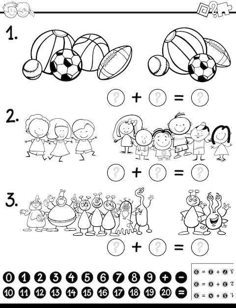 Page De Coloriage D'activité Mathématique Vecteur Premium