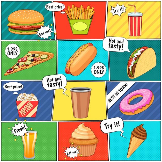 Page de composition de panneaux de bande dessinée de restauration rapide avec des ballons de la parole et des arrière-plans colorés Vecteur gratuit