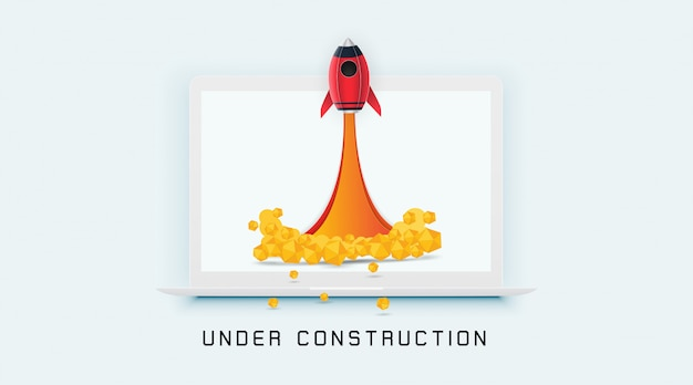 Page en construction Vecteur Premium