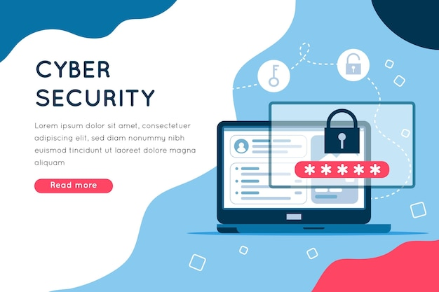 Page De Cybersécurité Illustrée Vecteur Premium