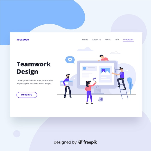 Page d'accueil du travail d'équipe Vecteur gratuit
