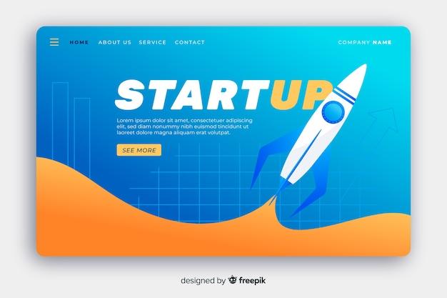 Page de démarrage avec fusée volante Vecteur gratuit