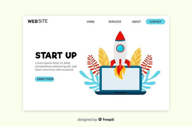 Page de démarrage avec ordinateur portable et fusée Vecteur gratuit