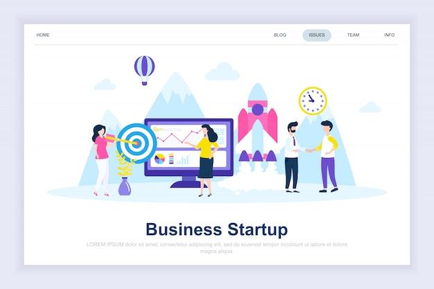 Page de démarrage plate de démarrage d'entreprise Vecteur Premium