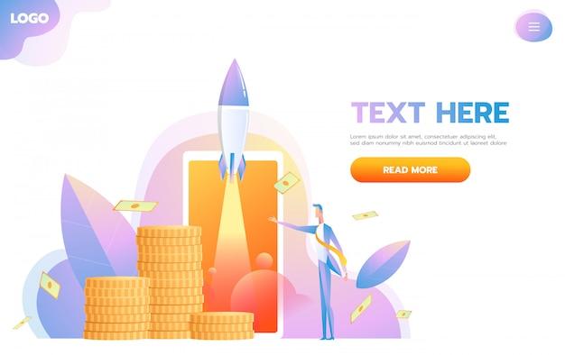 La page de démarrage réactive de business startup conçue par un nouvel entrepreneur analyse sa croissance ou son succès. Vecteur Premium