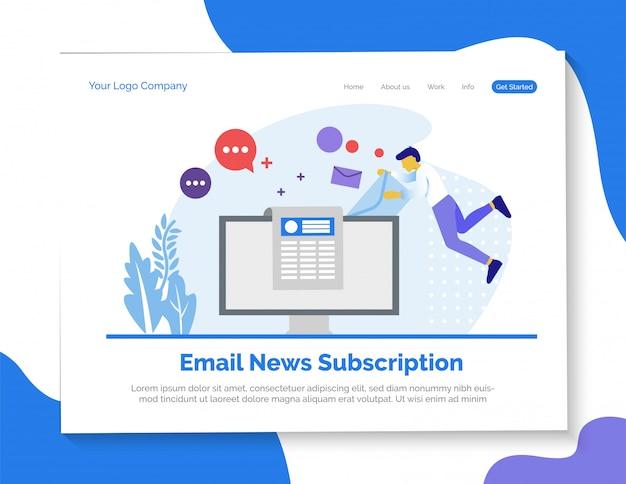 Page de destination de l'abonnement aux nouvelles par courriel Vecteur Premium
