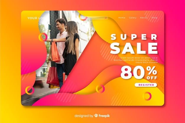 Page de destination abstraite des ventes avec modèle de photo Vecteur gratuit