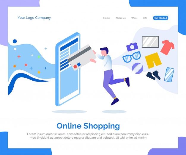 Page de destination des achats en ligne Vecteur Premium