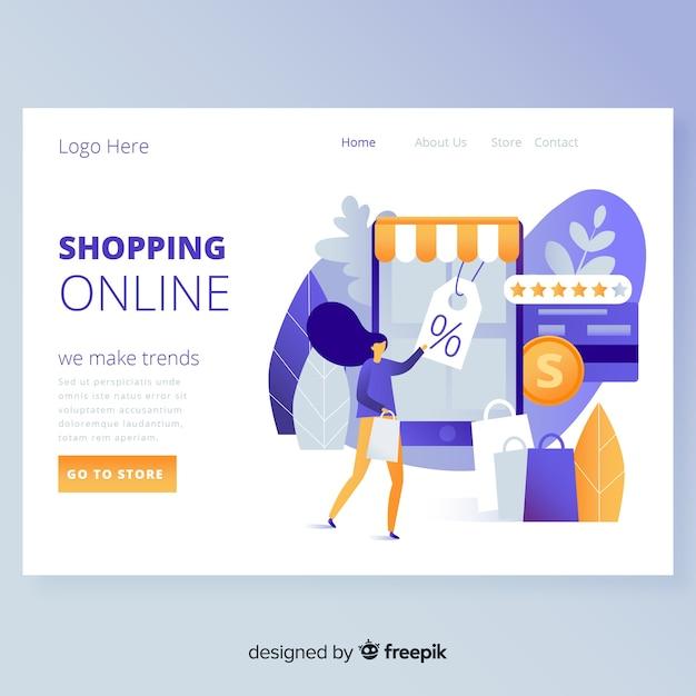 Page de destination des achats en ligne Vecteur gratuit