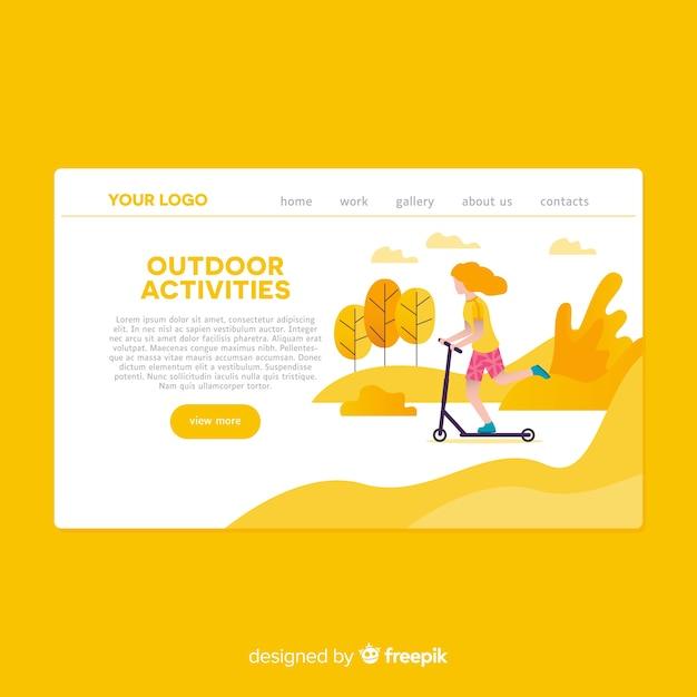 Page de destination des activités de plein air dessinées à la main Vecteur gratuit