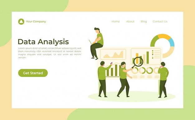 Page de destination d'analyse des données Vecteur Premium