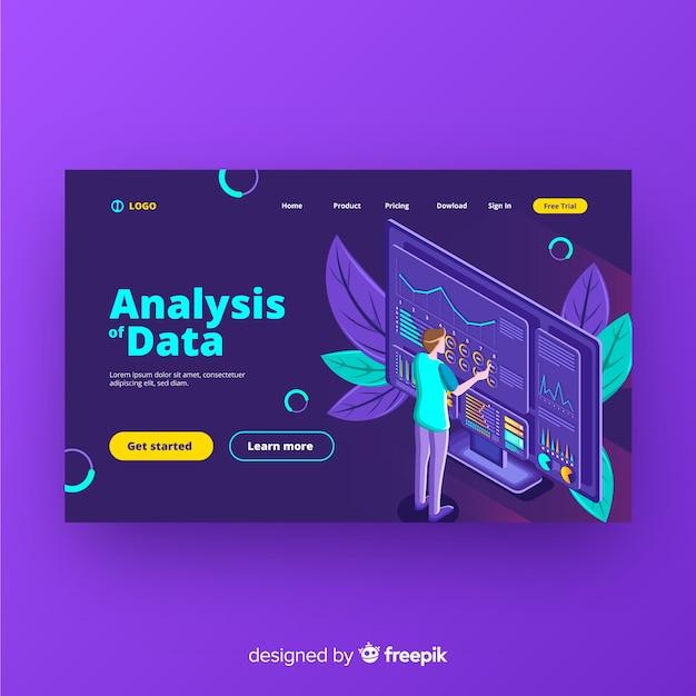 Page de destination d'analyse des données Vecteur gratuit