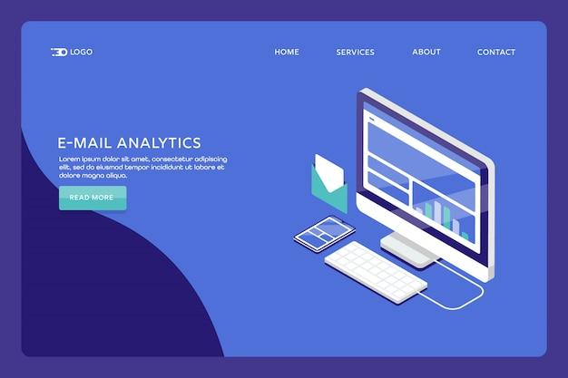 Page de destination d'analyse des e-mails Vecteur Premium