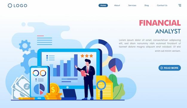 Page De Destination Analyste Financier Vecteur Premium