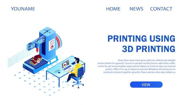 Page de destination. architecte, impression, modèle bâtiment, utilisation, 3d, imprimante Vecteur Premium